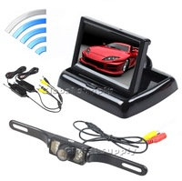 """DC12V 4.3"""" TFT LCD Foldable Car Dashboard Monitor Wireless Rear View Camera Parking System 2CH Video Input Free Shipping"""