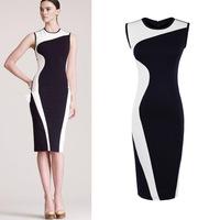 2014 Fashion Women Elegant Vintage Geometry Design Sleeveless O-Neck Stretchy Bodycom Party Evening Slim Dress Plus Size XS-XXL