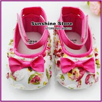 Sunshine store #2B2014 3 pair/lot infant BABY shoes shabby flower !antiskid baby prewalker rosset bow sandals CPAM