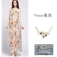 2014 new summer new sweet floral print chiffon long  sleeveless vest dress freeshipping