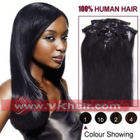 "15""-28"" inch Remy Clip in hair 7pcs Human Hair Extension 70g 80g 100g 120g  #01 jet black  STOCK Dropshipping freeshipping"
