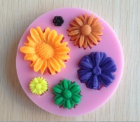 Free Shipping 1Pcs  flower shaped Chocolate Candy Jello 3D silicone Mold soap Mould Cartoon Figre/cake tools