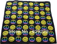 "smiling face & peace symbol 100% Cotton hiphop rap bboy Bandana wrap scarf wristb Headband 22""*22"" Free Shipping"