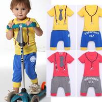 Autumn New Boys Casual Suit Sport Striped Tie Suits T Shirt + Pants 2pcs Children Baby Boy Girl Clothing Sets 2014 free ship