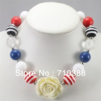 kids jewelry rose flower plastic multicolor chunky bubblegum pandent necklace resin strip beads 2013 new product