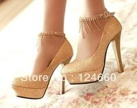The new spring/summer/autumn women's pumps 2013 golden waterproof with super high heels diamond wedding shoes