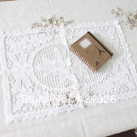 Fashion Precious Oblong White Color 100% Cotton Hand made Embroidery Venice Lace Table mat Doily size 16x24'' 5151W