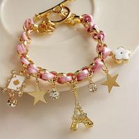 2014 New Fashion Braid Leather Bracelet Eiffel Tower Star Rhinestone Leather Charm Bracelets Bangles for Women Ladies Pink Hot