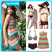 DYYY-0309 Wholesale Women Tankini Halter Swimsuit Shorts Bathing 3pcs Set, free shipping,size M L XL