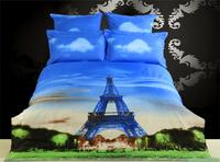Fedex Free Shipping Paris Eiffel Tower Patter 3D Painting 100% cotton 4pcs quilt cover/bedding sets