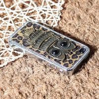 Night Owl Leopard Chrome Bling Diamond Hard Cover Case Shell for iPhone 4 4S Silver Fram & Film stylus gift
