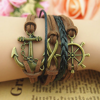 Wholesale high quality handmade romantic style New Retro Bronze Infinity Sailor Anchor Charms Suede Rope Leather Wrap Bracelet