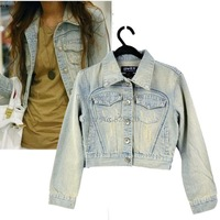 2013 Fashion Korea Women's Vintage Clothes Blushing Frayed Jeans Tops Jacket Denim Coat Light Blue 7564