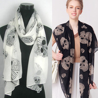 2013 New Arrival Spring Autumn Style Big Skull Printing Chiffon Scarf Best Sells Hot Style Wholesale,70*180