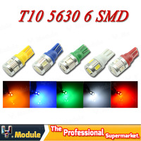 High Power 3W T10 W5W 194 168 6 SMD 5630 LED Auto Wedge led Door Rear Side Turn signal led bulb White 12V 4pcs/lot #YNB44
