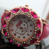 holiday sale top quality pink Leather Hello Kitty Watch fashion Crystal wrist Watch Fits For Children 5pcs/lot