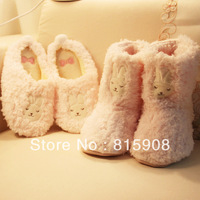 Free Shipping Lady Winter Cotton Slippers Shoes Autumn Sandal Shallow pink small onrabbit plush     boots 2