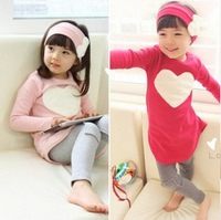 free shipping  Girls Suits Love heart Long sleeve Top Dress+Leggings+Hair band 3pcs children clothes set
