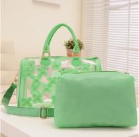 LZ flower candy color jelly women's handbag transparent bag Transparent Embroidery flower shoulder bag in bag 2 pcs sets