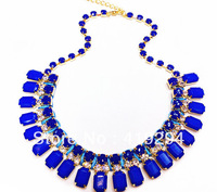Free Shipping  2014 New Arrival Candy Color Resin Gem Bib Statement Chunky Necklace Rhinestone Neon Chain Necklace Fashion Woman