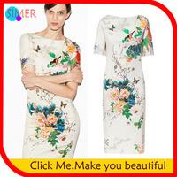 2014 Limited Women's Tops Brand Sexy Bodycon Dresses New Fashion Midi Cheongsam Peony Bird Printing Show Slim Long Elegant Dress