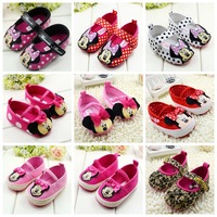 Hot sale (1 pair) fashion cotton solid riband minnie mouse baby girl's first walker shoes for 0-1 year