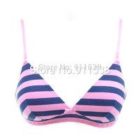 Free shipping 1pcs british style stripe cotton powder wireless young girl underwear student bra #D594