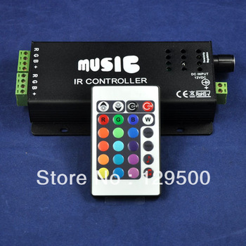 DC12/24V 180W 24key IR Remote Control Aluminum Led RGB music controller & Audio sound sensitive for RGB led strip light