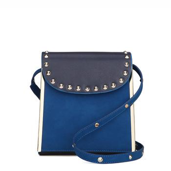 Vintage Fashion Trend Handbag Women Retro Scrub Lovely Rivet Solid Leisure Bag Cross Body