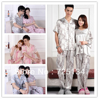 2013 New arrival lover  men and women summer faux silk or cotton short-sleeve sleep set , sleepwear, pajama