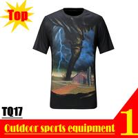DISCOUNT! TQ17 3D Lightning Tornado Print Summer Autumn Casual Designer 100% Polyester Short T shirt for Men