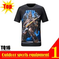 DISCOUNT! TQ16 3D Devil Guitar Print Summer Autumn Casual Designer Quick Dry Sport Polyester Short T-shirt for Men