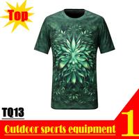 Quick Drying TQ13 2013 New Fashion Men Short Sleeve Top Green Tree Leaves Devil 3D Prin T-shirt M L XL XXL