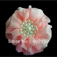 Shabby Flower Clips Girls/Baby/Toddles Flower  With Pearl 19Colors Free Shipping hair flower hair accessories(120pcs/15color)