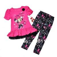 wholesale(4sets/lot)Kids wear set, girl 2pcs Minnie Mouse set with short sleeve tops+leggings, Children clothing suit-WYX-8J9300