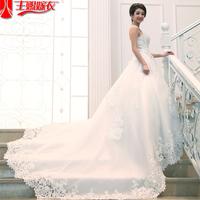 Big train sweet princess sexy vintage lace wedding dress, long tail dresses