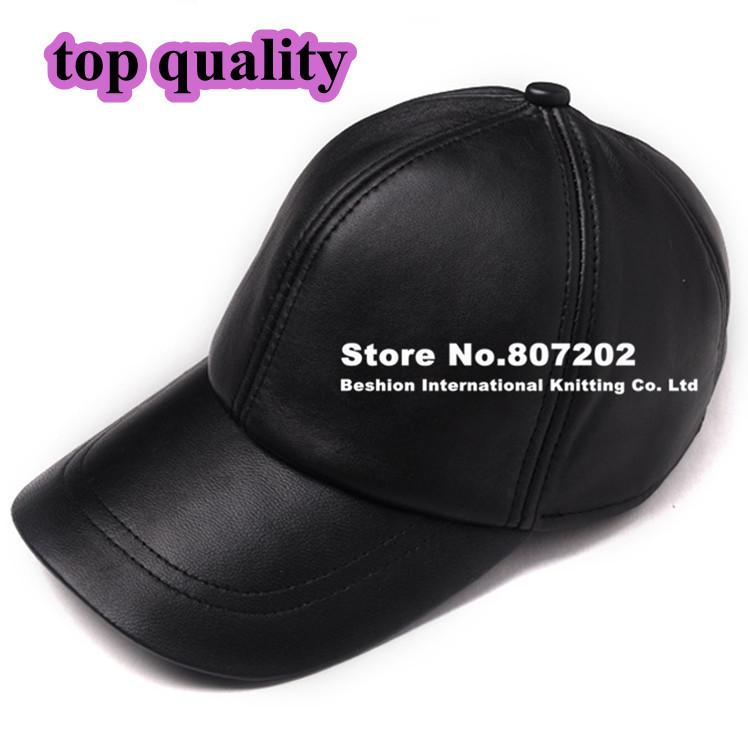 high quality  Sheepskin hat genuine winter leather hat baseball cap adjustable for men black hats(China (Mainland))