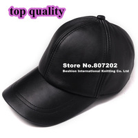 high quality  Sheepskin hat genuine winter leather hat baseball cap adjustable for men black hats
