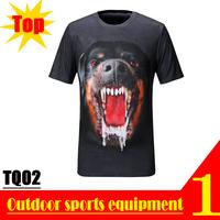 Super Deal! TQ02 2013 New Quick Dry 3D Men Short Sleeve Top The Black Dog Animal 3D Print T-shirt OEM Wholesale