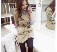 Wholesale 2013 New Fashion Autumn And Winter Women's Double Breasted Slim Long Design Trench Ladies Coat Free Shipping #SX6385