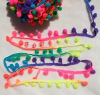 "5 yards cute shine Rianbow color Pom Pom fringe trim draper ball Accessories sew 0.8"" ball"