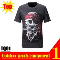 High Quality! TQ01 2013 New Quick Dry 3D Men Short Sleeve Top Skull 3D Print T-shirt OEM Wholesale