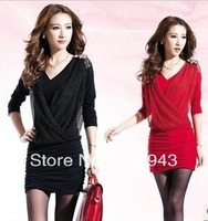 2013  Autumn V-neck long sleeve insignia was thin gauze dress package hip nightclub dress pleated dress free shipping