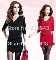 2013  Autumn V-neck long sleeve insignia was thin gauze dress package hip nightclub dress pleated dress free shipping
