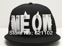 New Hiphop crystal acrylic letter meow rivet hiphop hat cap baseball cap z28