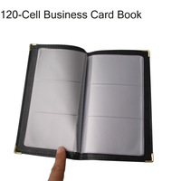 120-cell leather business journal name card book album holder bag black 1140