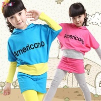 Children clothing 2013 New fall girls baby casual sport two-piece fashion clothing sets kids T-shirt pants suits free shipping