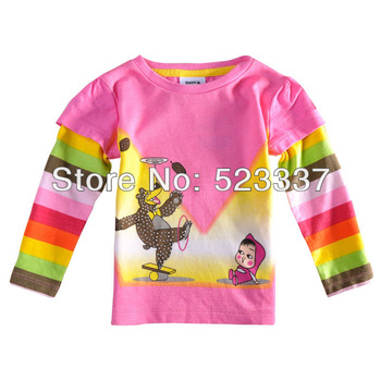 FREE SHIPPING F3099# 18m/6y NOVA kids wear girl cartoon clothing printed Masha and bear tunic top long sleeve t-shirts for girls