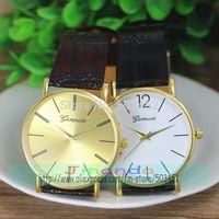 100pcs/lot 3165 Fashion GENEVA Brand Ladies Leather Watch Wrap Quartz Casual Dress Watch Gold/White Dial Wristwatch