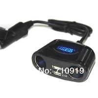 T16248c Wholesale 10PCS/Lot 4-Way Cigarette Socket Splitter Dual USB  Twin Sockets Car/Auto Charger For iPad /Digital Device
